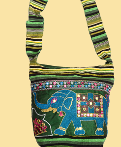 Lucky Elephant Mirrorwork Embroidered Tote Bag