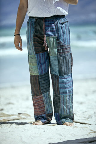 Striped Cotton Patchwork  With Cargo Pockets