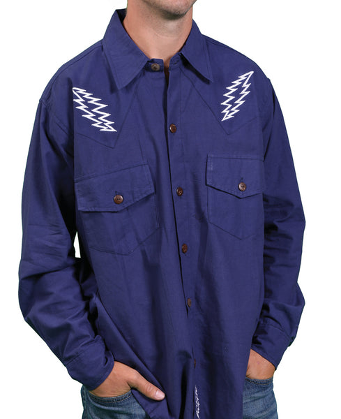 Mens Long Sleeve Bolt Embroidered Button Up Shirt