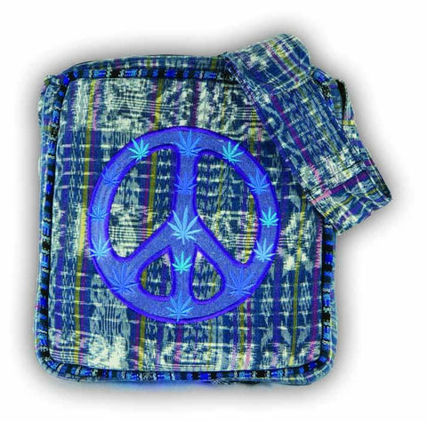 Woven Brocade Peace Sign Purse