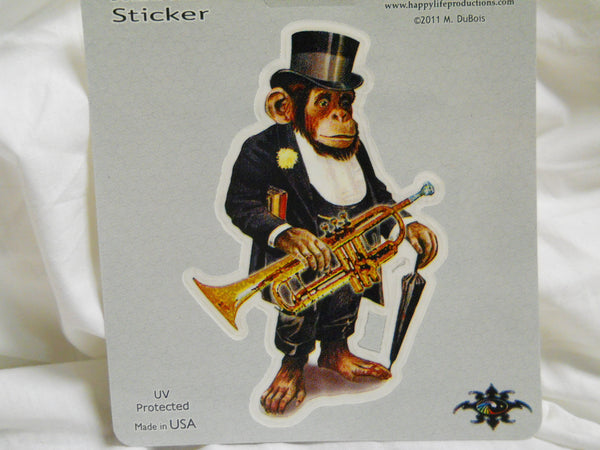 Chimp with Trumpet Sticker