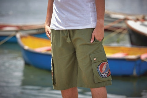 Men's Grateful Dead Cotton Cargo Short With Stealie Detail Pocket
