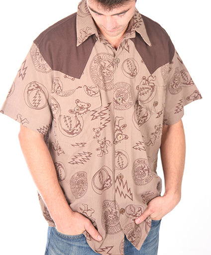 Mens SYF Bolt Bear Button Up Short Sleeve Shirt