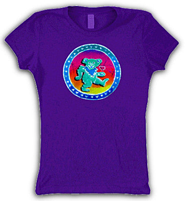 Grateful Dead Dancing Bear Heart Womens T-shirt