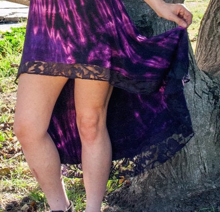 High-Low Lace Tie Dyed Skirt