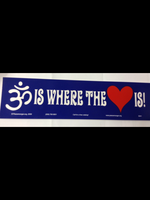 """Om is where the heart is"" bumper sticker"