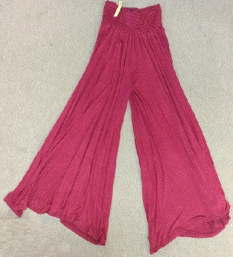 Plain Comfort Waist Wide Legged Pants