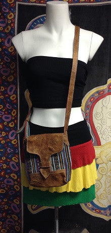 Flap Over Leather and Tribal Purse