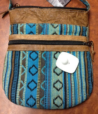 Leather and Tribal Print Purse