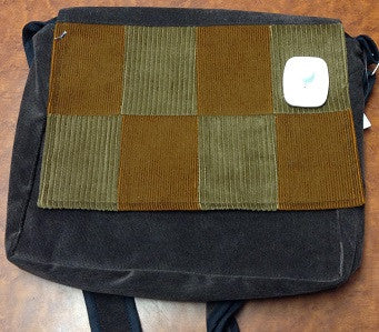 Small Brown Corduroy Patchwork Messanger Bag