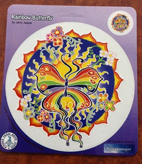 Rainbow Butterfly and Flower Sticker