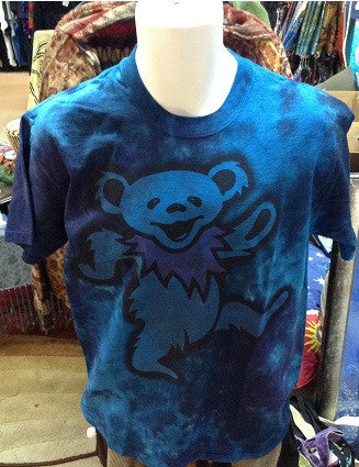 Big Blue Dancing Bear Tie Dye T-Shirt