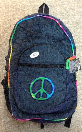 Tie dye Trim Corduroy Peace Sign Patchwork Backpack