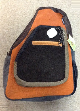 Corduroy Patchwork One Strap Backpack