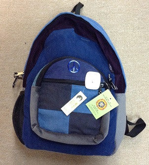 Small Peace Sign Corduroy Patchwork Backpack