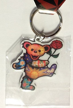 Dancing Bear Rose Metal Key Chain