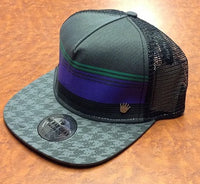 Hounds Tooth Brim Purple and Green Mesh Snap Back Hat