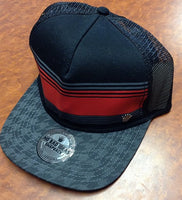 Hounds Tooth Brim Red and Grey Mesh Snap Back Hat