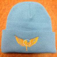 Light Blue and Orange Hoop Wings Folded Brim Beanie