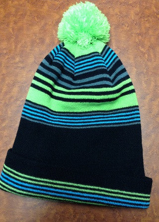 Blue and Green Striped Pom Pom Beanie