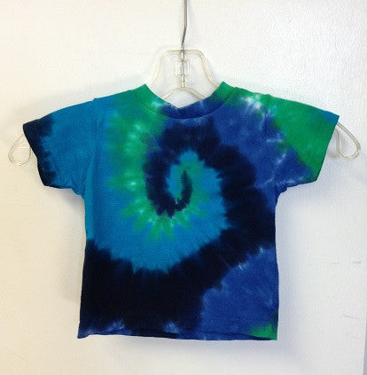 Blue and Green Spiral Tie Dye Toddler T Shirt