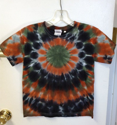 Green and Orange Circle Tie Dye Youth T Shirt