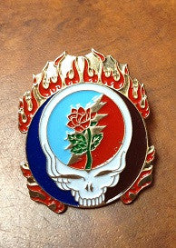 Flaming Rose Steal Your Face Hat pin
