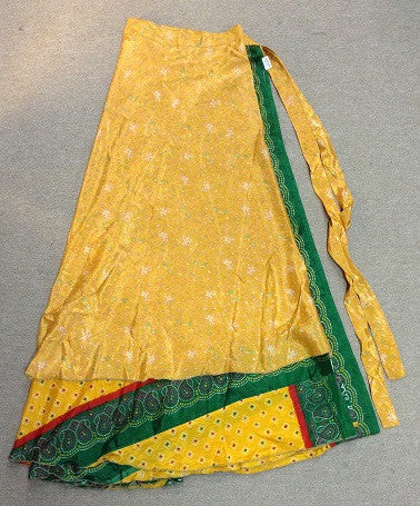 Yelow and Green Paisley Trim Wrap Skirt