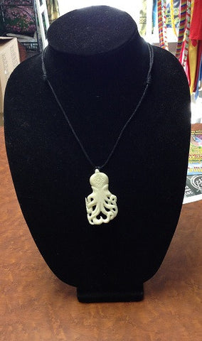 Carved Bone Octopus Necklace
