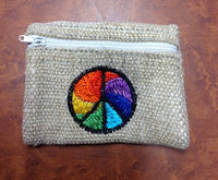 Rainbow Peace sign Hemp Coin Purse