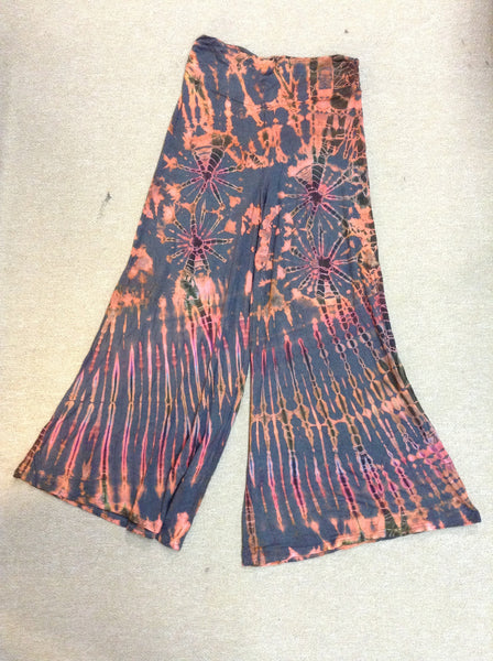 Scrunch Waist Wide Legged Tie Dye Pants