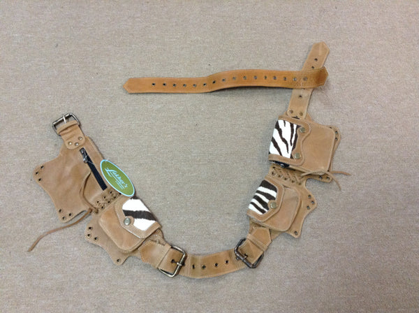 Leather Hip Belt with Faux Zebra Patch
