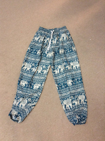 Elephant Rayon Harem Pants with Drawstring