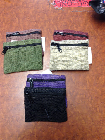 Assorted Colorful Hemp Coin Purses