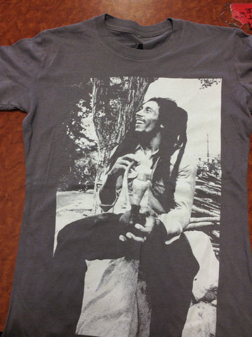 Bob Marley Chalice Charcoal Ladies T-shirt