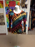 Womens Tie Dye Long Sleeve Rayon T-shirt