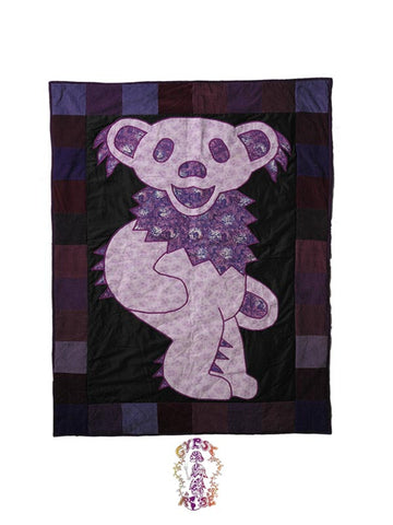 Calico Grateful Dead Bear Throw Blanket
