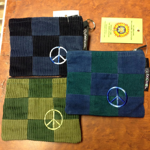 Corduroy Patchwork Peace Sign Large Keychain Coin Purse