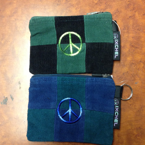 Small Peace Sign Corduroy Patchwork Keychain Coin Purse