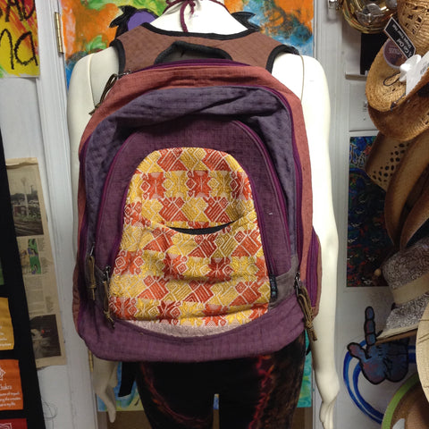 Basket Weave Brocade Trim Backpack