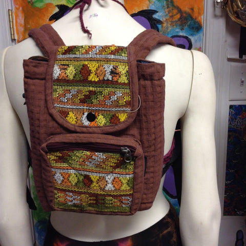 Basket Weave Brocade Mini Backpack