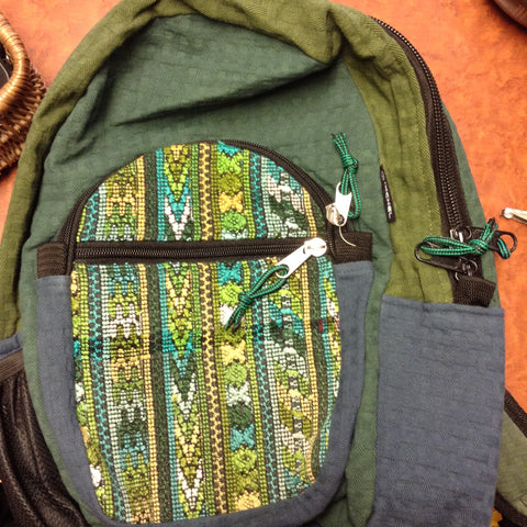 Basket Weave Brocade Daypack Backpack