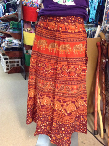 "36"" Printed Cotton Wrap Skirt"