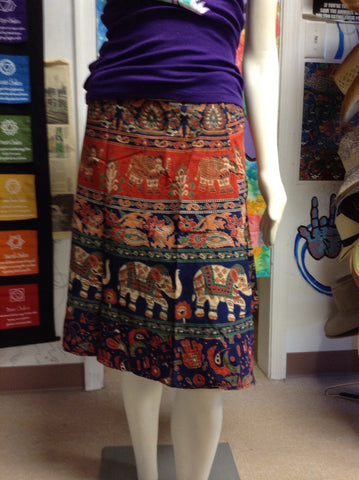 "24"" Printed Cotton Wrap Skirt"