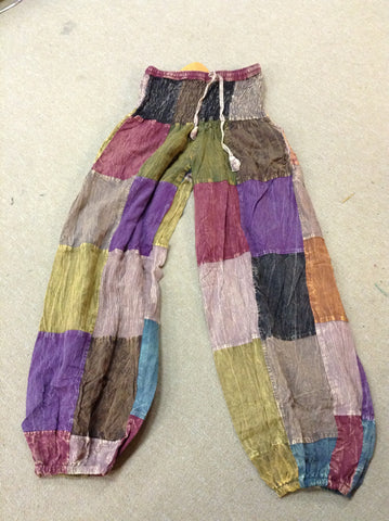 Cotton High Waist Patchwork Pants