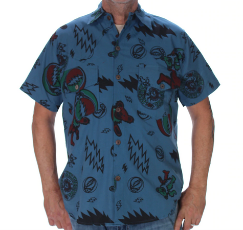 Mens Shakedown Bolt Bertha Bear Button Up Shirt