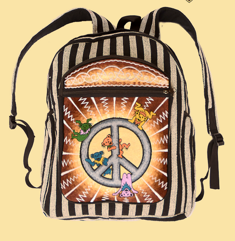Grateful Dead Dancing Bears Peace Emblem Backpack