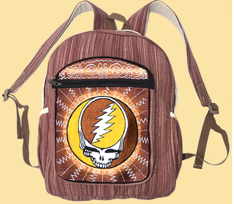 Hand Embroidered Golden Steal Your Face Backpack
