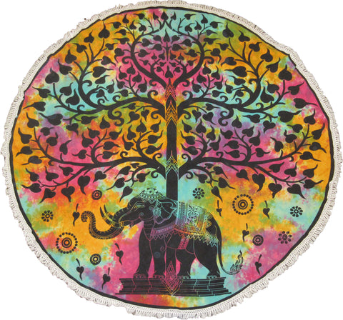 Round Elephant Tree Of Life Tapestry