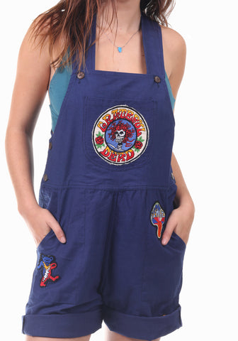 Grateful Dead Patched Cotton Overall Shorts